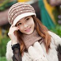 New brand wool female cap scarf warm winter hat female knitted hat scarf female winter wool twinset women's outdoor thermal cap