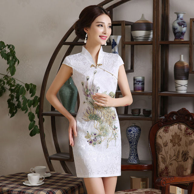 f148a364c3de5 US $28.99 |Hot sale White Summer Traditional Chinese Dress Women's  Cheongsam Solid Color Short Sleeve Mini Qipao Slim Dress-in Cheongsams from  Novelty ...