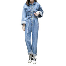 Women Denim Jumpsuits 2019 Spring New Casual Long sleeves Loose Denim Rompers Female High waist Washed trousers Rompers JIA201(China)