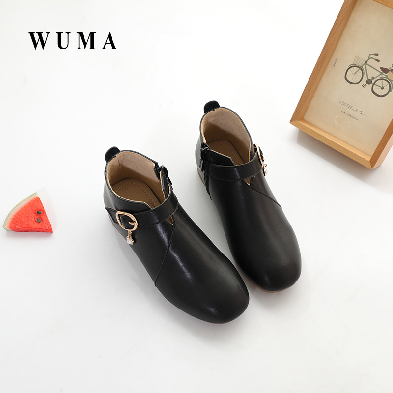 WUMA Genuine Leather Spring Autumn Girls Boots Kids Shoes 2017 Brand New Handmade Buckle Children Boots Toddler Baby Girls Shoes aadct spring new travel children shoes low cut casual boys running shoes real leather kids shoes for little girls brand