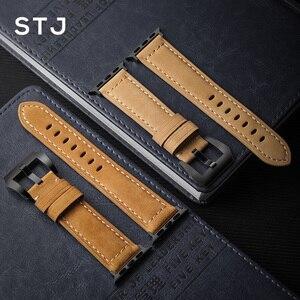 Image 5 - STJ בעבודת יד עור פרה רצועת השעון עבור אפל שעון להקות 42mm 38mm & Apple שעון סדרת 4 3 2 1 רצועת עבור iWatch 44mm 40mm צמיד