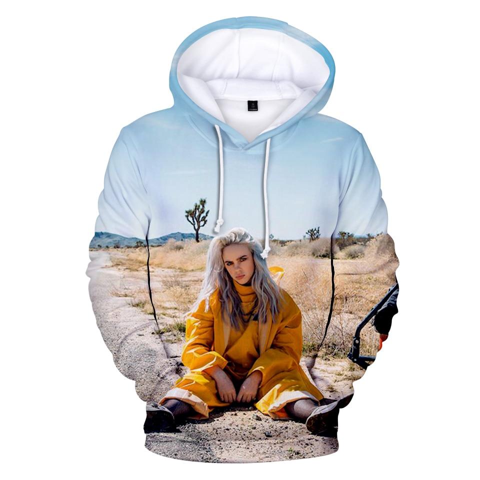 print hoodies 3d american singer billie eilish hoodies hip