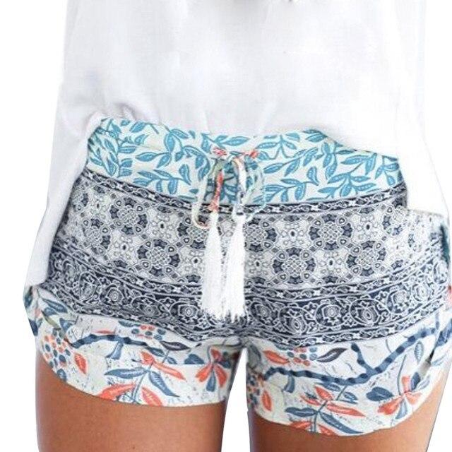 Alta cintura de los pantalones cortos de las mujeres Floral impresión damas pantalones cortos de verano mujeres pantalones Vintage sexy pantalones cortos mujeres feminino