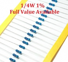 100 шт./лот 1/4 Вт 4.7R/5.1R/6.8R/10R/12R Металл резистор 4.7/5.1/ 6.8/10/12 Ом 1% 0.25 Вт резисторы 1/4 Вт сопротивление цвет кольцо