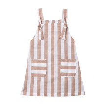 1-6T Toddler Kids Girls Striped Dress Loose Sleeveless Strappy Knot Overalls Suspender Dress with Pocket Summer Aline Clothes