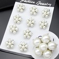 2016 New Style Small Silver plated Collar Brooch pins 12 pieces brooches 6 Pearl Flower bouquets jewelry for wedding bridal pins
