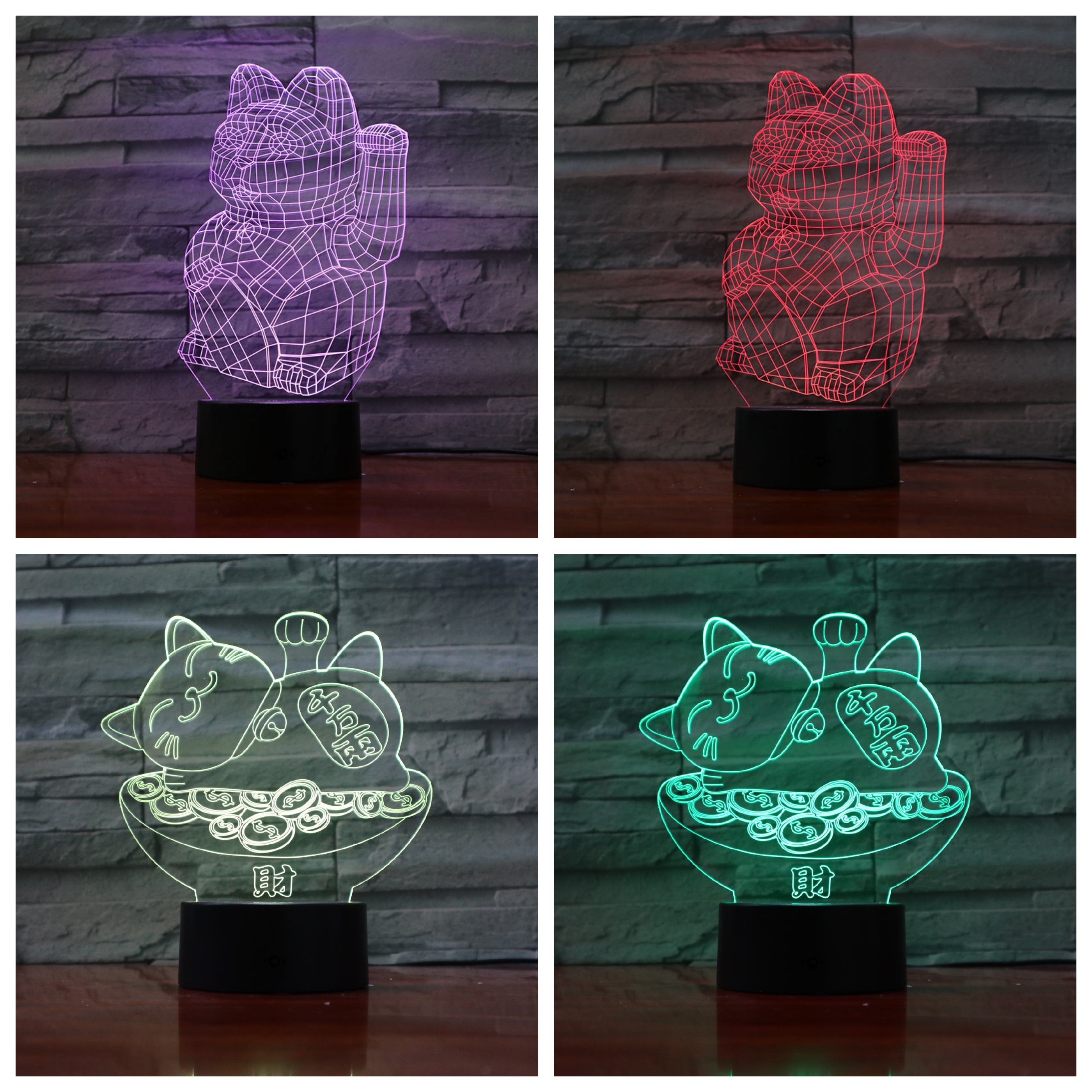 Maneki Neko Desk lamp bedside 3D Lampara Touch Sensor RGB Decorative Lamp Beckoning cat Child Kids Manekineko LED Night Light