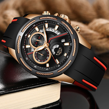 Reloje New LIGE Fashion Mens Watches Top Brand Luxury Silicone Strap Chronograph Quartz Watch Men Casual Waterproof Sport