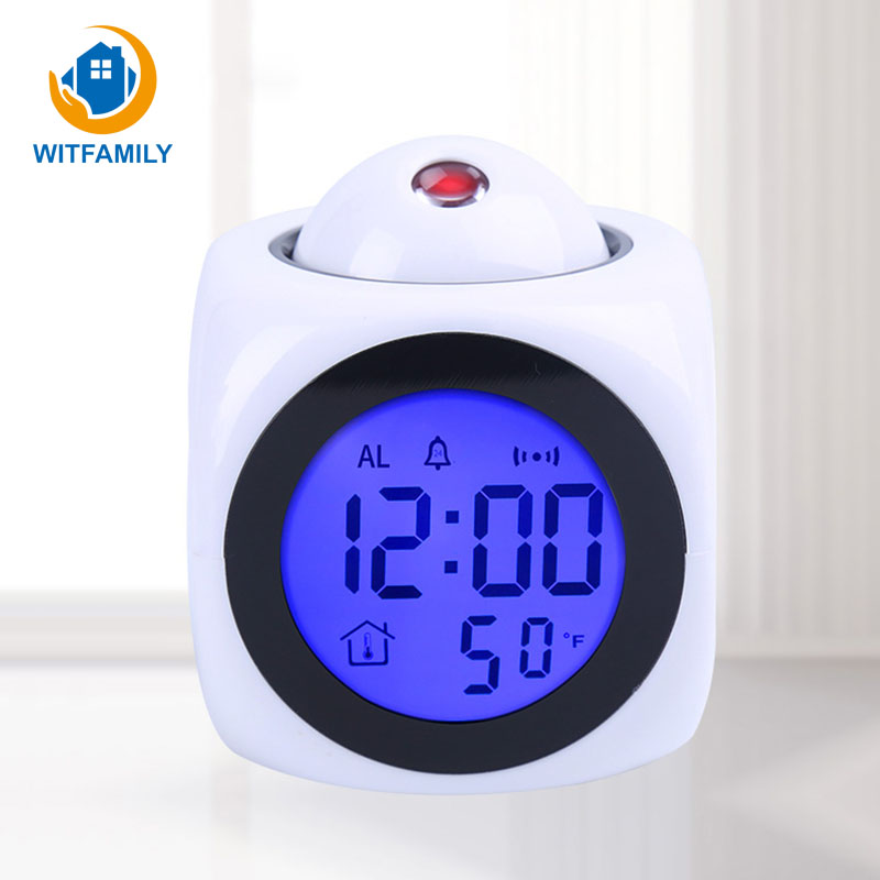 Humidity Hygrometer/Bedside Wake Up Projector Clock Digital Projection Alarm Clock Weather Station with Temperature Despertador
