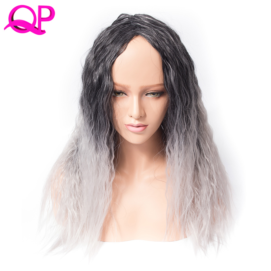 Qp Hair Afro Kinky Straight High Temperature Fiber African American Medium Length Wigs Blacke Ombre Sliver Grey Cospaly Wig