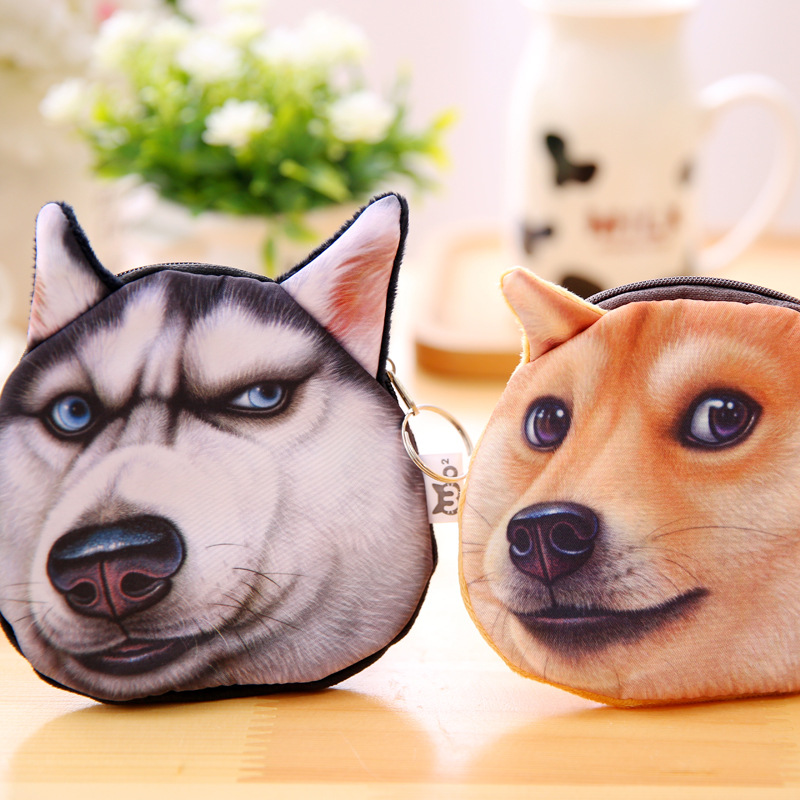 3D Printed Pattern Wicked Akitas Dog Childrens Purse Doge Coin Purse Husky Dog Personality Tide Small Purse Women Coin Bag Mini