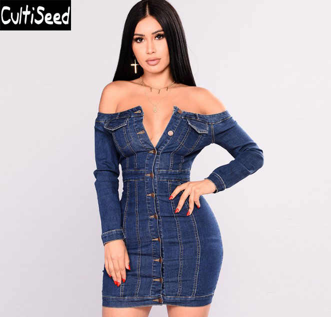 Cultiseed Women Jeans Dress Female Sexy Strapless Single Breasted Slim Hip  Party Jeans Dress Ladies Autumn 40fad8ebe964