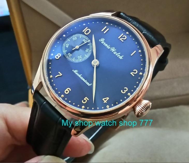 все цены на 44mm PARNIS blue dial 17 jewels Asian 6497/3600 Mechanical Hand Wind movement men's watch Rose gold case Mechanical watch 391A онлайн