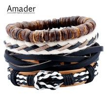 Drop shipping Europe Fashion Punk Wood Beads Multilayer Braided Leather Rope Chain Bracelets Men Punk Bangle Sets