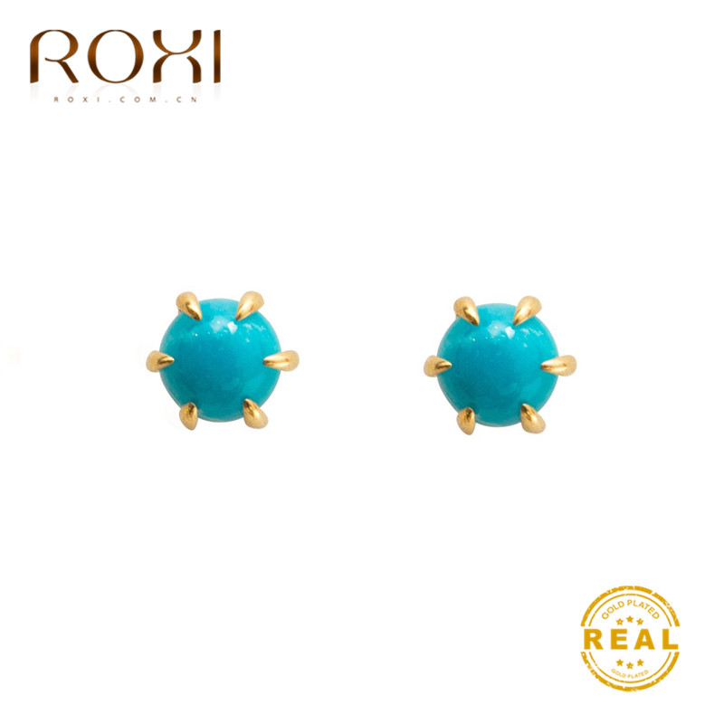 ROXI 2019 Stud Earrings For Women Girls Gift Boho Jewelry Synthetic Turquoises Earrings Summer Wedding Earrings Pendientes Mujer