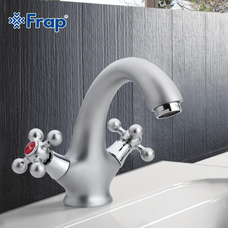 ФОТО Matte surface Basin faucet Dual Handle Vessel Sink Mixer Tap Hot and cold separation switch  F1019-1