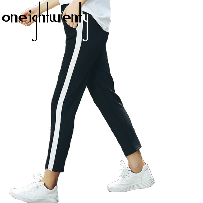 2017 Top Moda Donna Pantaloni Lato A Righe Harem Pant Donna Nero Casual A Vita Alta Pantaloni Pantalon Femme 008 Una Vasta Selezione Di Colori E Disegni