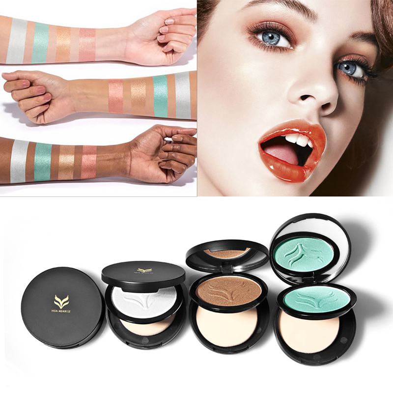 HUAMIANLI Brand Highlighter Powder Professional Cosmetics Brighten Contour Highlighting Bronzers Face Palette Makeup With Mirror