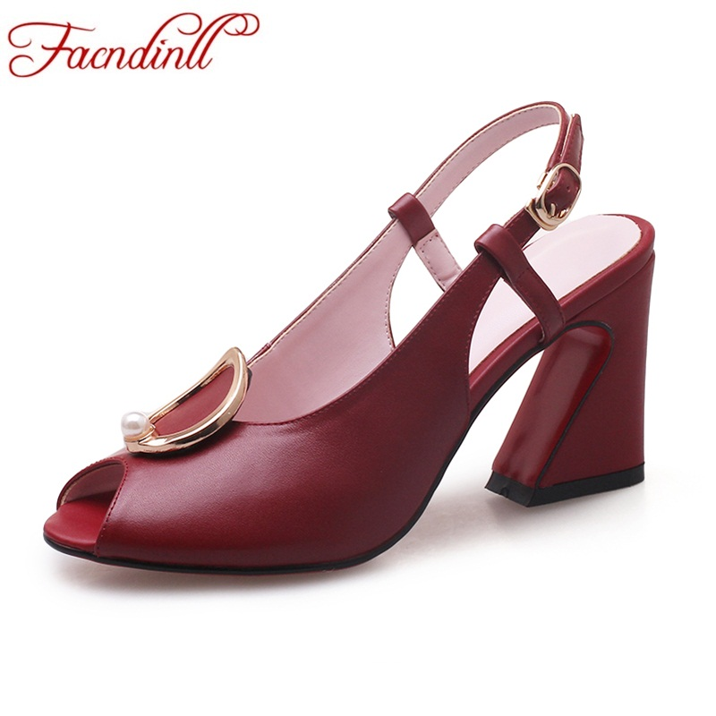 FACNDINLL high quality women sandals shoes genuine leather high heels peep toe black red shoes woman summer dress party sandals facndinll shoes summer gladiator sandals for women new fashion genuine leather high heels peep toe shoes woman dress party shoes