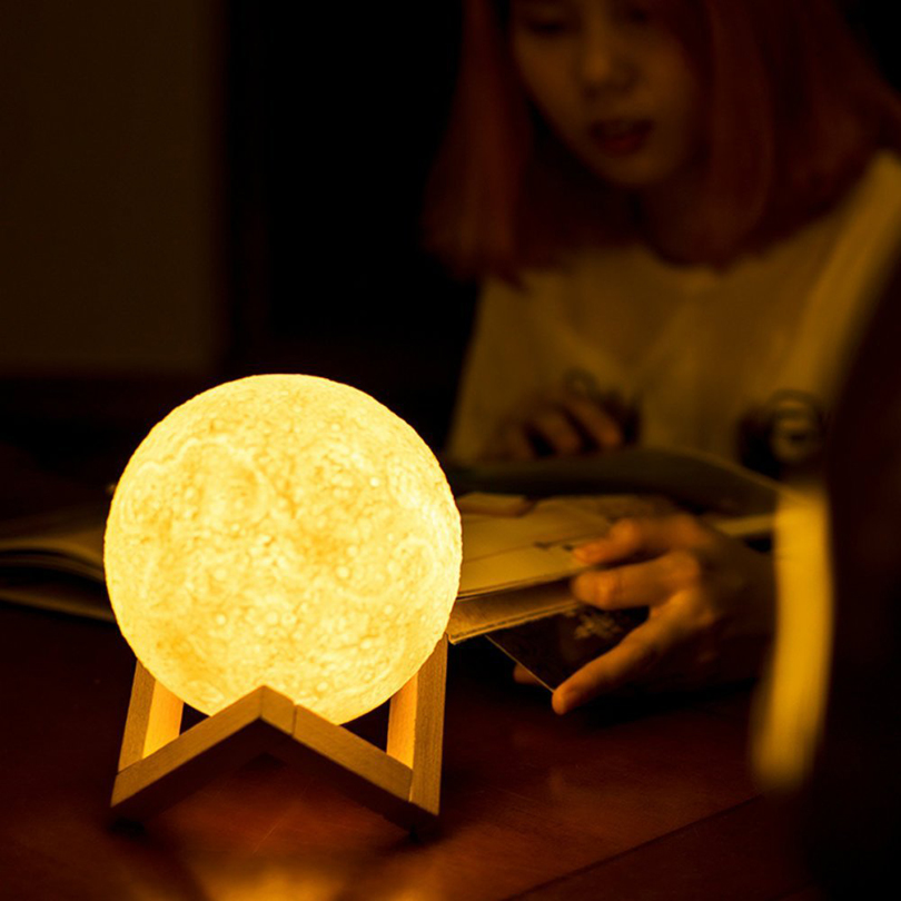 USB Rechargeable 3D Print Moon Lamp 2 Color Change Touch Switch Bedroom Bookcase Night Light Home Decor Lamp Creative Gift