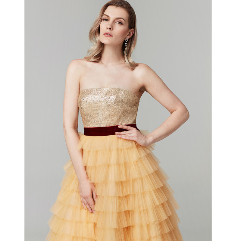 TS Couture A-Line Princess Strapless Floor Length Tulle Sequined Cocktail Party / Prom / Formal Graduation/  Dress