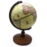 Vintage Pedestal English edition globe world map decoration earth globe with Wooden base Geography terrestrial globe tellurion