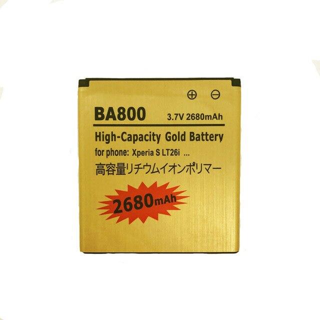 NENG 2680mAh Golden BA800 Li-Ion Battery For Sony Ericsson Xperia S Arc HD LT26i LT26 V LT25i Polymer Replacement Battery