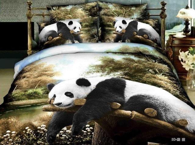 Lenzuola Matrimoniali In 3d.Us 97 0 3d Panda Animale Albero Stampa Biancheria Da Letto Set Copripiumino Matrimoniale Lenzuola Copriletto Letto In Un Sacchetto Lenzuolo Di Lino