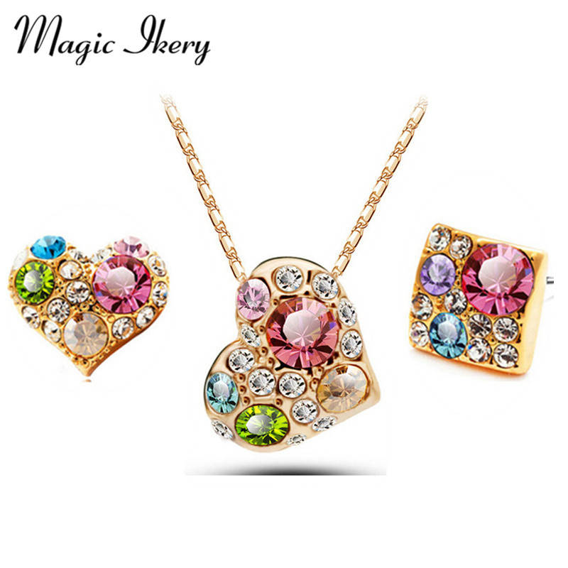 Magic Ikery Rose Gold Color Crystal Wedding Bridal Heart Color Jewelry sets Wholesales Fashion Jewelry for women MKL1353