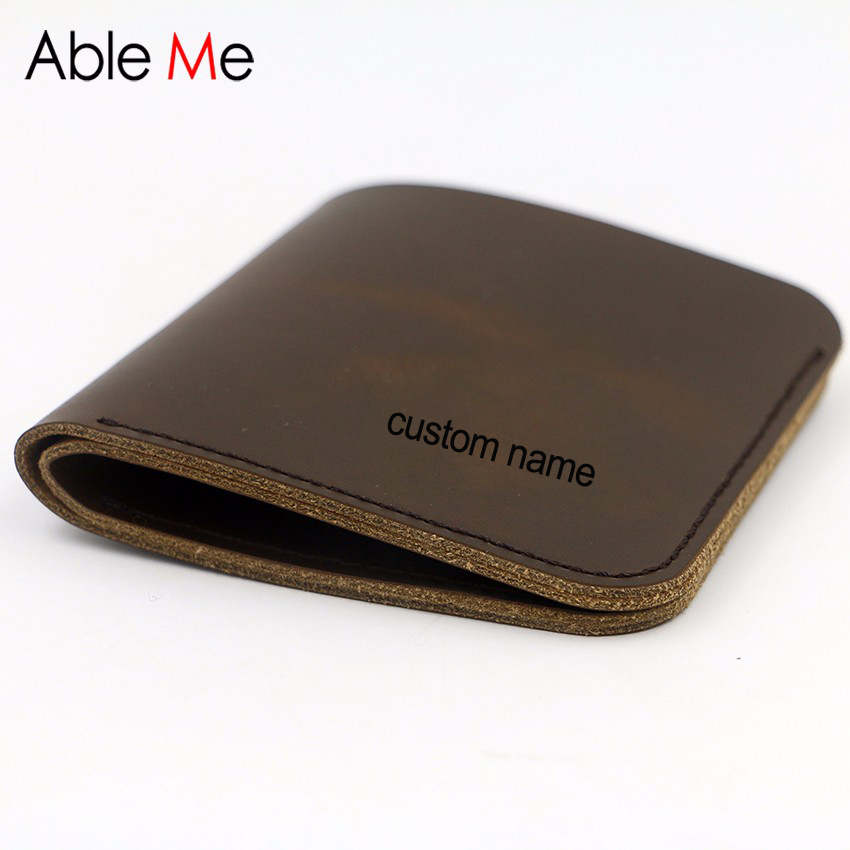 Handmade Leather Men Wallet Business Credit Card Holder Casual Vertical section Custom name Purse Creative Gift For Men brand high quality business genuine leather men wallet credit card holder black real leather vertical purse with coin pocket 50