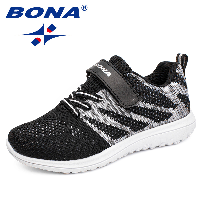 BONA New Arrival Popular Style Children Casual Shoes Mesh Sneakers Boys & Girls Flat Child Running Shoes Light Fast Free Shippin 1
