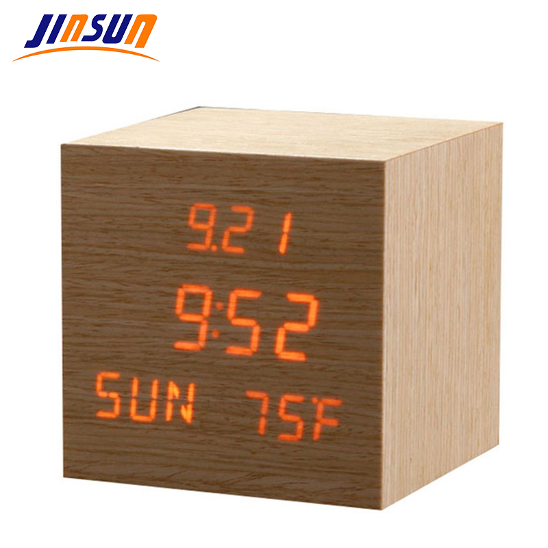 JINSUN Modern sensor Wood Clock Dual led display Bamboo Clock digital alarm clock Led Show Temp Time reloj despertador KSW203