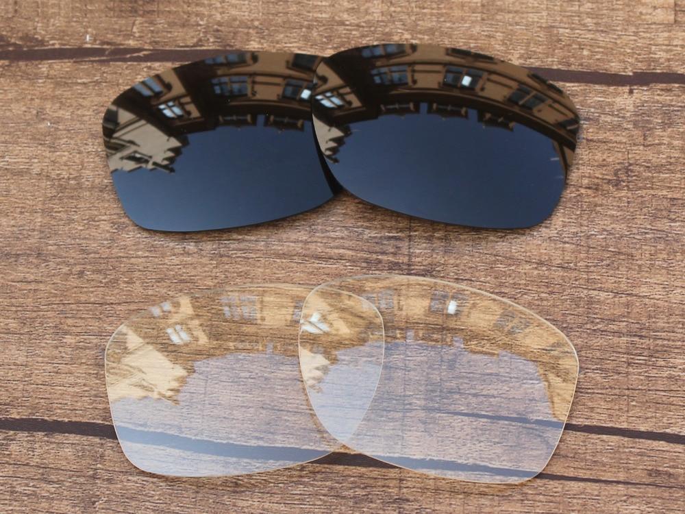 Noir et Cristal Clair 2 Paires verres de Remplacement Pour Jupiter Squared  Lunettes de Soleil Cadre 100% UVA et UVB Protection 6b2a728f4013