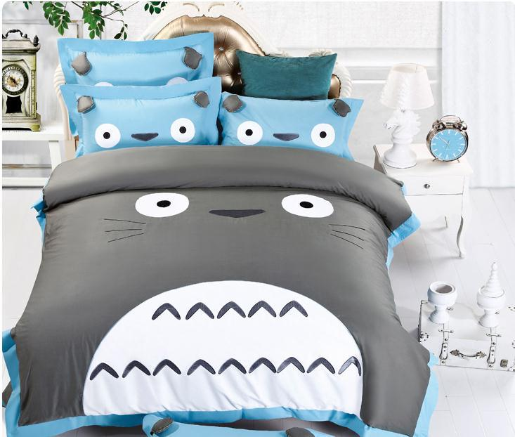 NEW!!100 Cotton Best Quailty TOTORO Bedding Twin Queen King Bed Sheets  Girls Mermaid Print Bedding Duvet Cover Sets Kids In Bedding Sets From Home  U0026 Garden ...