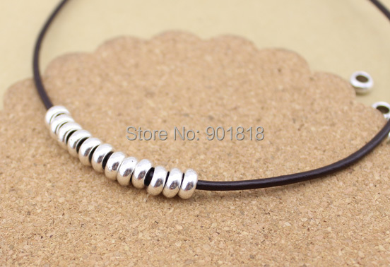 30pcs/lot Silver Tone Spacer beads European ring Bead Fitting DIY charm Bracelet Big hole Bead For Women Jewelry making DIY F407