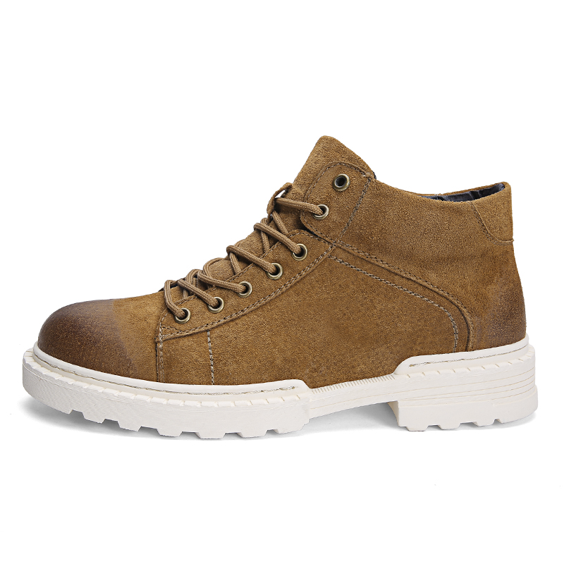ONLYMONKEY Men Leather Walking Shoes Outdoor High Quality Comfortable Sneakers Suede Short Heel Height Increasing Sport Shoes-in Walking Shoes from Sports & Entertainment    1