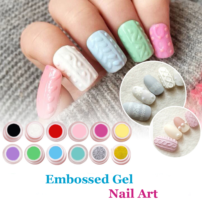 Sweater Emboss Gel Nail Art 3D Relief Gel 12 Colors Acrylic Carving UV LED Gel Long Lasting Sculpture UV Gel DIY Design Painting