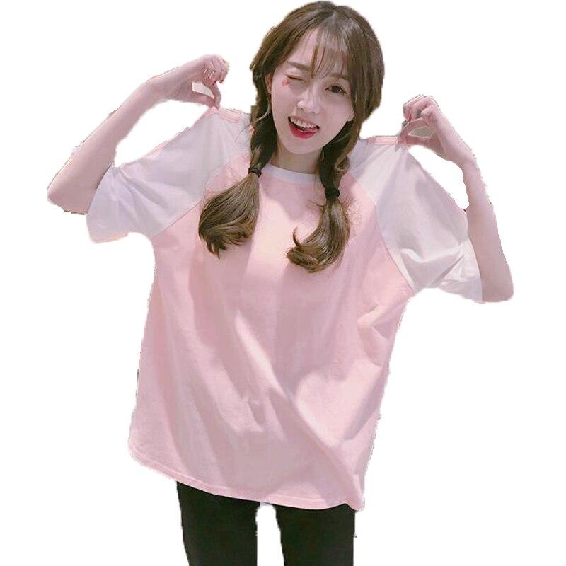 2018 Summer Style Korean Ulzzang Harajuku Pink T Shirt Women streetwear Hip hop Short Sleeve Loose T-Shirt Female Kawaii Tshirt