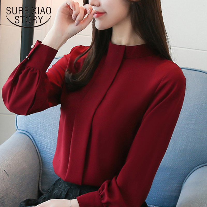 New 2018 Long Sleeve Women Blouses Shirt Fashion Casual Chiffon OL Blouse Women's Clothing Stand Neck Women Tops Blusas D456 30