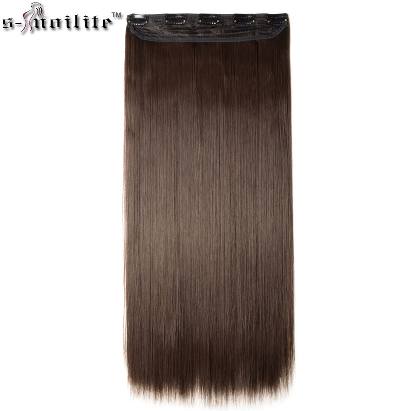 SNOILITE 30 incn 5 clip in long Straight Hair Extensions Real Synthetic Cosplay Hairpiece half full head one piece extension
