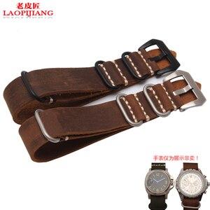 Image 3 - Calidad de Servicio Crazy Horse correa de reloj de cuero adaptador pegamento mar hecho a mano correa de reloj de cuero 22mm 24mm 26mm old NATO correa para hombres