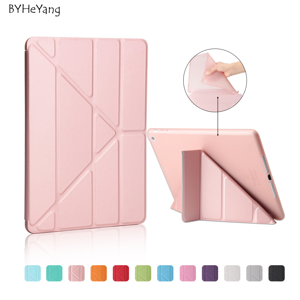 BYHeYang Soft TPU Case for New iPad 9.7 2017 2018 PU Smart Cover Case Magnet wake up sleep For New iPad 2017 model A1822 A1823
