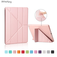 BYHeYang Soft TPU Case For New IPad 9 7 Inch 2017 PU Smart Cover Case Magnet