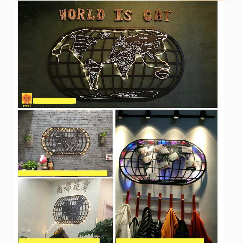 Industrial Style Wall Ornament Iron World Map Wall Hang Decoration Mural for Bar Cafe House Living Room world map wall sticker