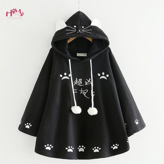 Fashion Women Kawaii Cat Ear Sweatshirt Japanese Cute Paws Girls Casual Outerwear Harajuku Cloak Fleece Loose Hooded Hoodies