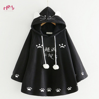 Fashion Women Kawaii Cat Ear Sweatshirt Japanese Cute Paws Girls Casual Outerwear Harajuku Cloak Fleece Loose Hooded Hoodies
