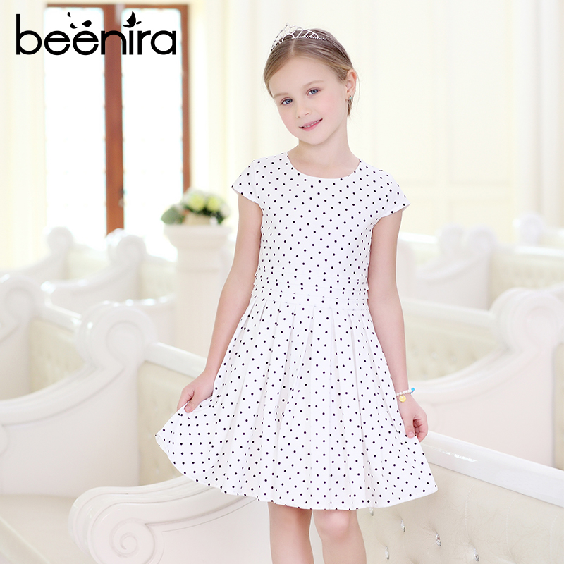 Beenira Girls Dresses 2017 New Fashion European And American Style Children Short-Sleeve Dots Pattern Dress Kids Princess Dress