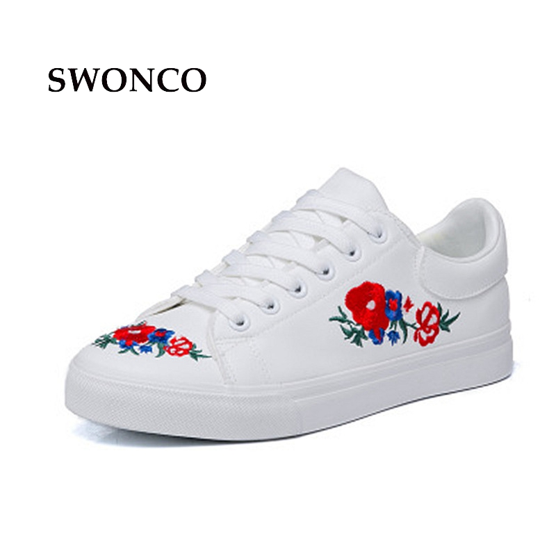 SWONCO Womens Sneakers Shoe Fashion Embroider Platform Woman Loafers Canvas Shoe White Sneakers Women 2018 Solid Color Shoes