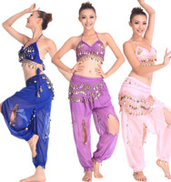 Promotion Sale Summer New Belly Dancing Costume For Women Sexy Bra Top Clothes Bloomers Pant Waist