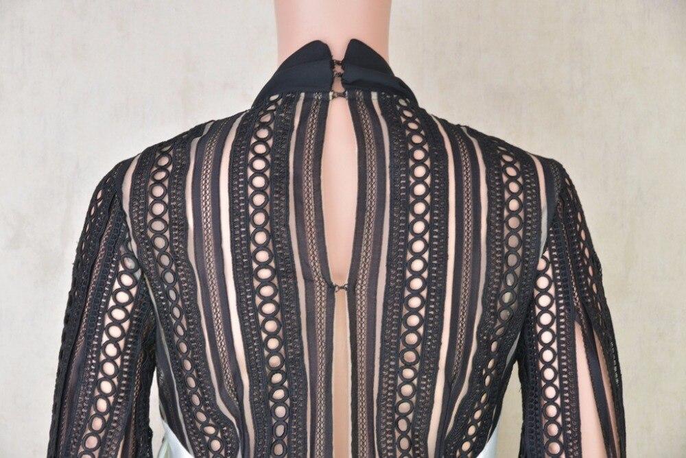 Femmes Haut Luxe Robe Manches Mode Creux Rétro Lanterne Gamme Plein Marque Automne Dentelle Couture De Arc XN8nwOP0k